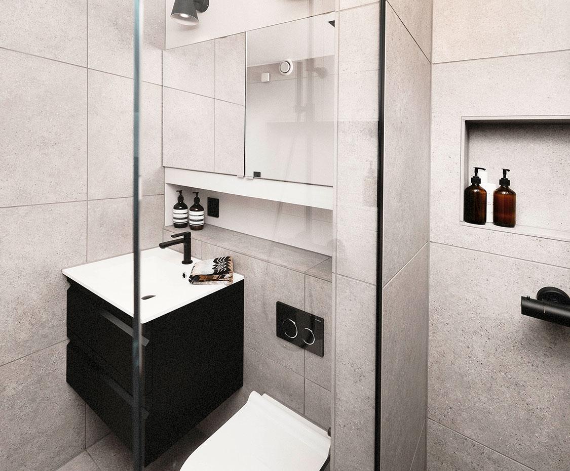 Viser badet fra innsiden av dusjområdet og ut