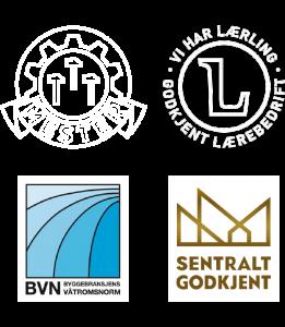 Mesterbrev, Godkjent lærebedrift, Byggebransjens Våtromsnorm og Sentralt godkjent - bilder av deres merker